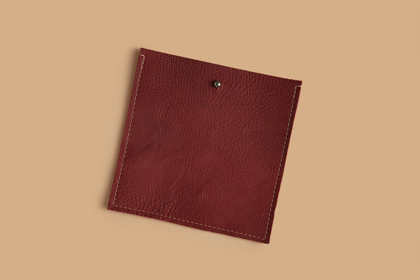 Square pocket insert - Port burgundy leather