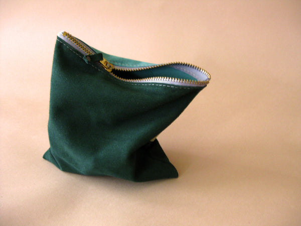 Zipper pouch - Green suede number 1