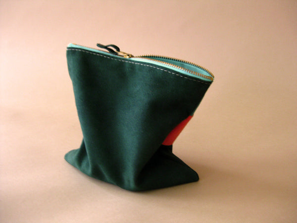 Zipper pouch - Green suede number 3