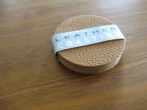 Leather Coaster set - 6 coasters in Cashew bull hide