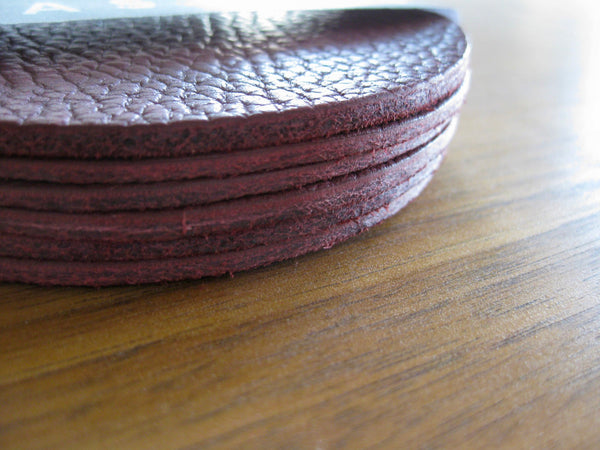 Leather Coaster set - 6 coasters in Port bull hide
