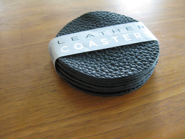 Leather Coaster set - 6 coasters in Black bull hide