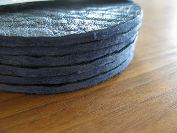 Leather Coaster set - 6 coasters in Indigo bull hide
