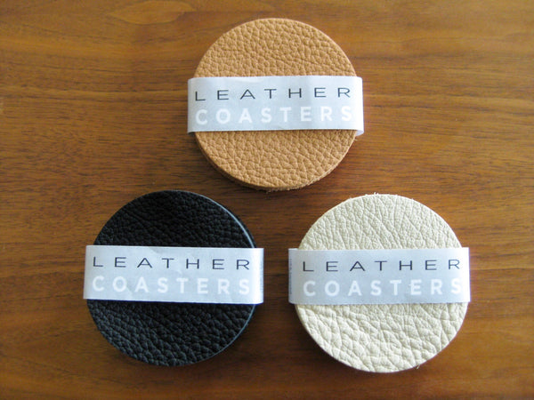 Leather Coaster set - 6 coasters in Cream bull hide