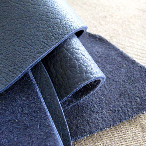 Leather scrap - half pound - Indigo blue bull hide