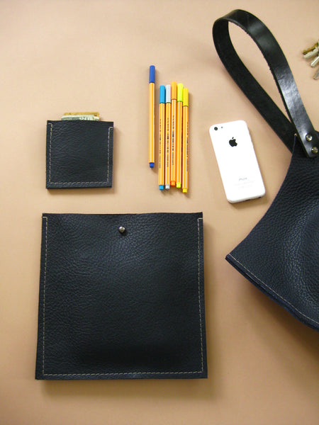 Square pocket insert - Indigo blue leather