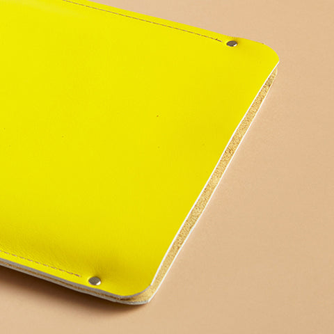 Laptop sleeve - Lemon yellow leather