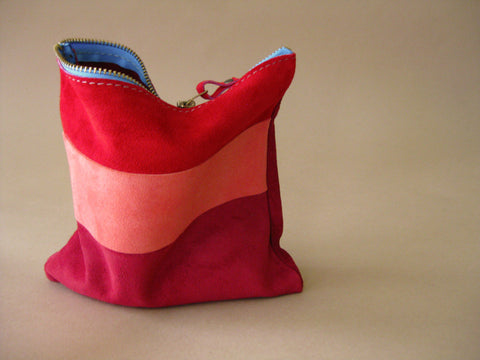 Zipper pouch - Red suede number 6