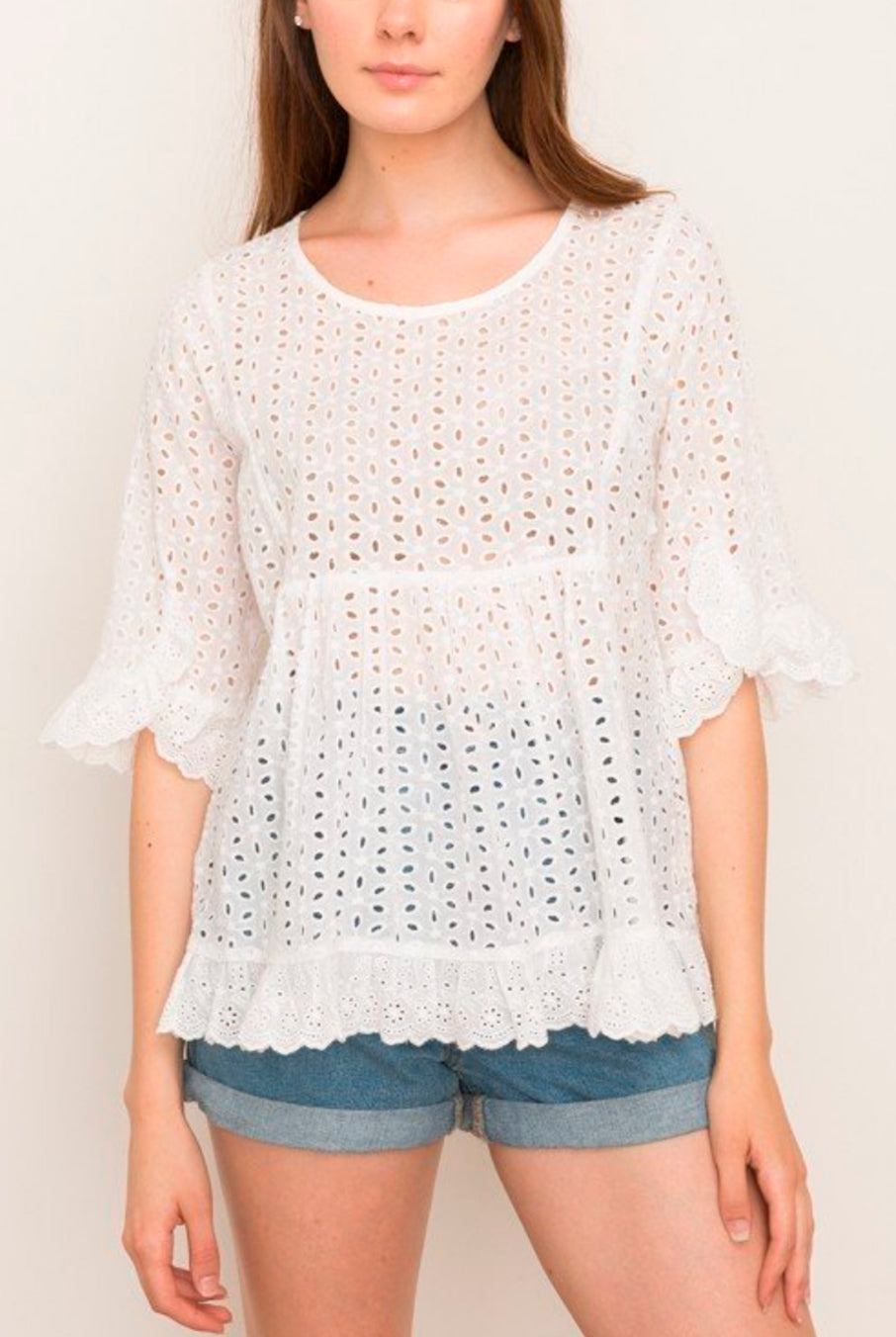 bd14b11455fd7 ... Mystree White Cotton Lola Eyelet Ruffle Top - Hourglass Boutique - 2 ...