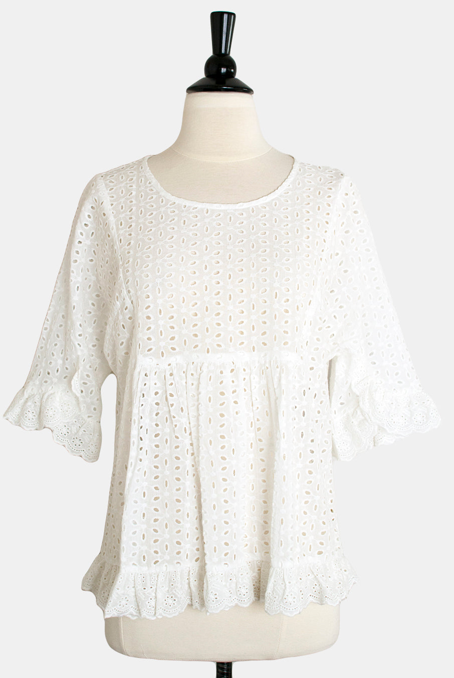 4180c16041aeb Mystree White Cotton Lola Eyelet Ruffle Top - Hourglass Boutique - 1 ...