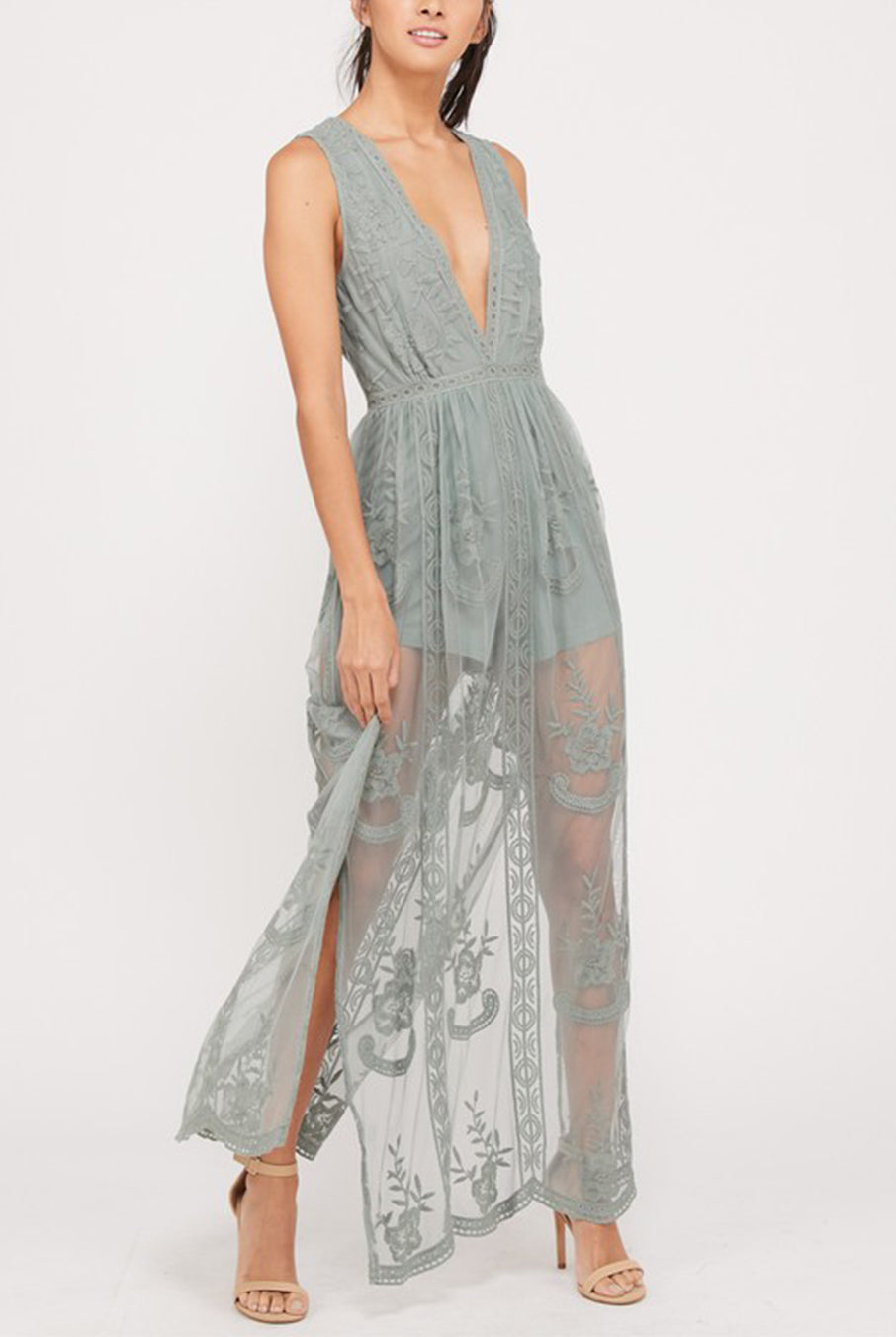 590ffd83a10 Rae Sage Embroidered Maxi Dress by Hourglass Boutique - Hourglass ...