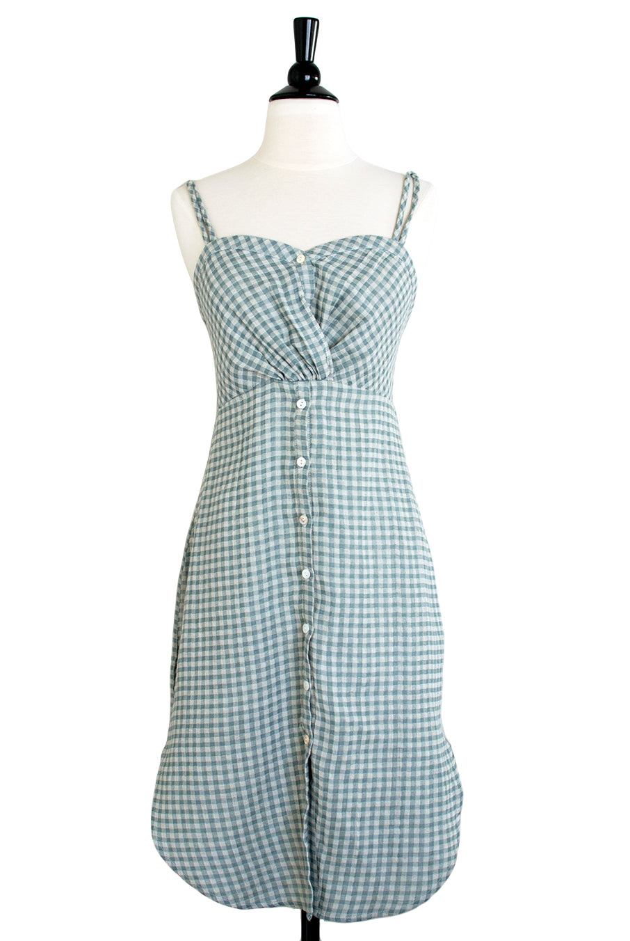 e14a421755c Sage Green Gingham Button Front Sundress - Hourglass Boutique ...
