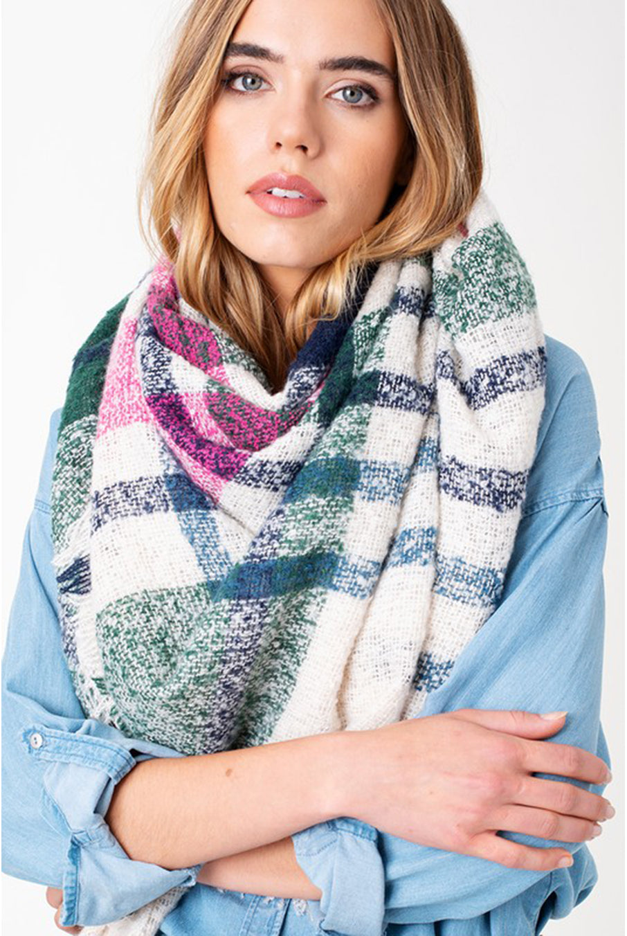 Ivory Plaid Blanket Scarf By Hourglass Boutique Hourglass Boutique