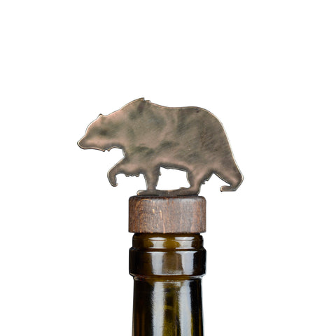 Grizzly Bear Steel and Wood Bottle Stopper