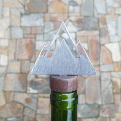 Modern Mountains Steel and Wood Bottle Stopper