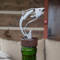 Salmon Steel and Wood Bottle Stopper