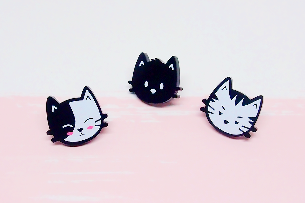 Cat Black Acrylic Pins Set