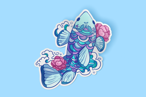 Fish Flowers Sticker