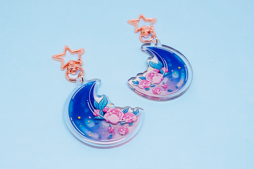Moon Roses Charm