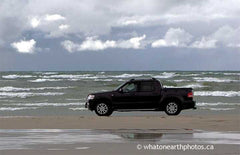 pickup truck on beach, Sauble Beach, Ontario