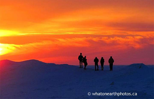 winter sunset watchers, Grand Bend, Ontario