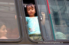girl in bus window, Santo Domingo, Ecuador