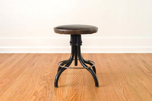 Waxed Leather Drafting Stool