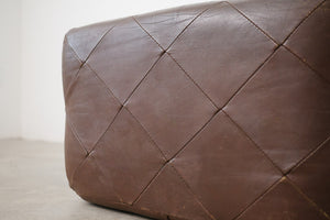 Leather Woven Ottoman