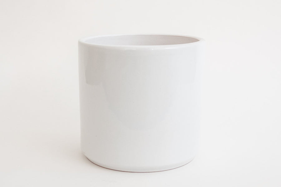 "8"" Pot / Planter - Gloss White Cylinder"