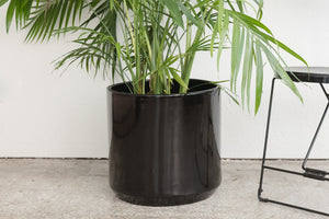 "15"" Pot / Planter - Gloss Black Cylinder"
