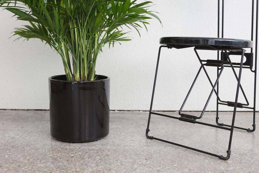 "10"" Pot / Planter - Gloss Black Cylinder"