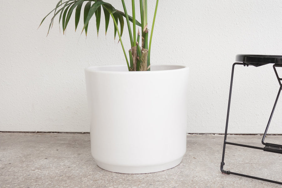 "15"" Pot / Planter - Matte White Cylinder"