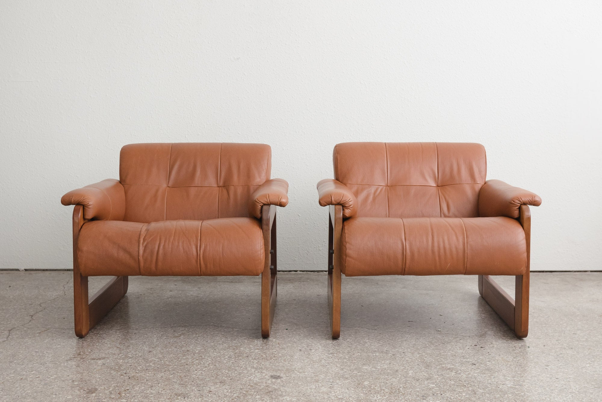 Pair Mid Century Leather Chairs
