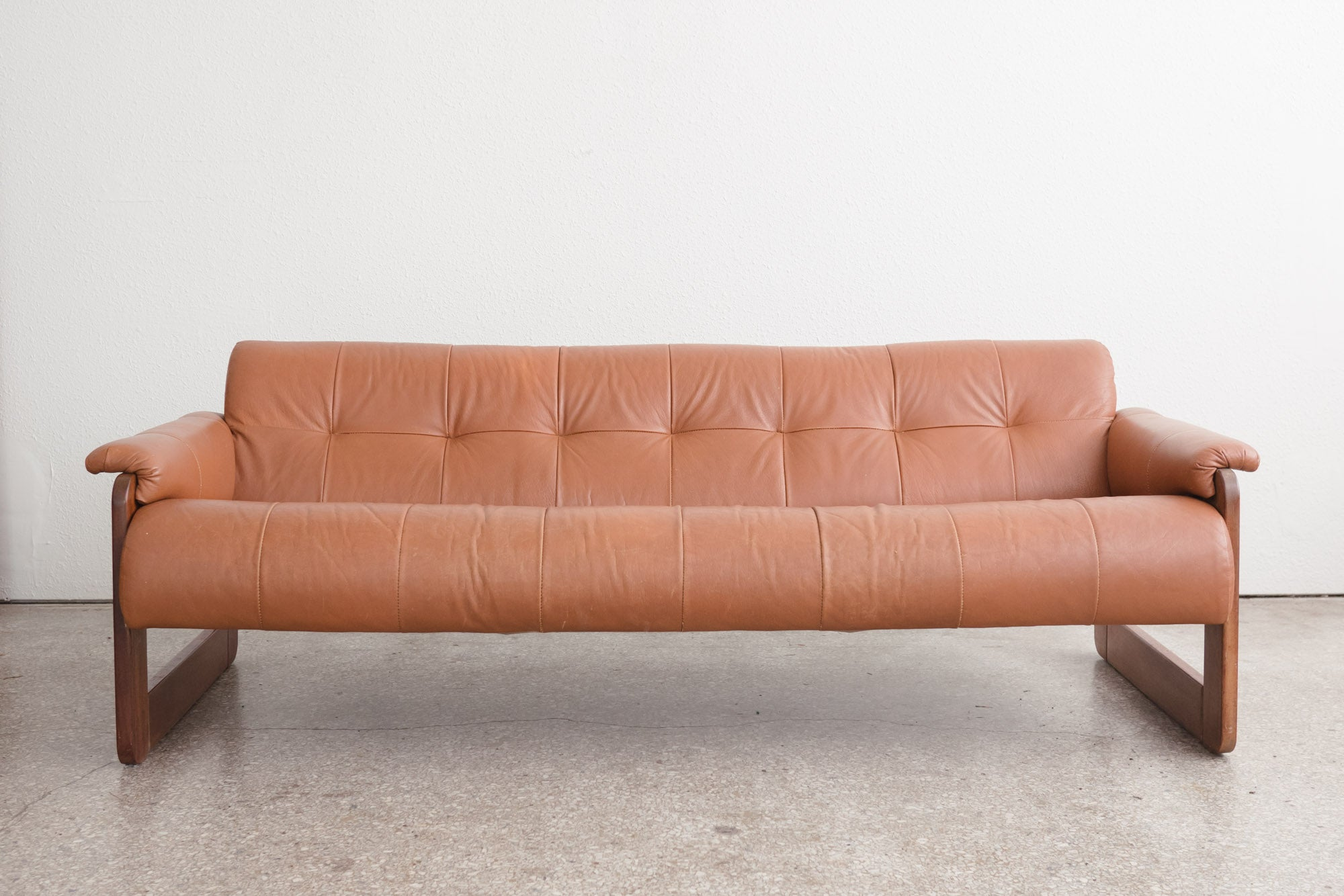 Mid Century Leather Sofa