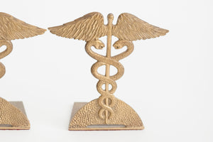 Brass Caduceus Bookends