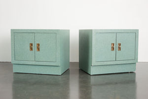 Grasscloth Nightstand Pair