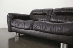 Leather & Chrome Loveseat