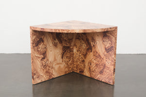 Burl Pattern Corner Table
