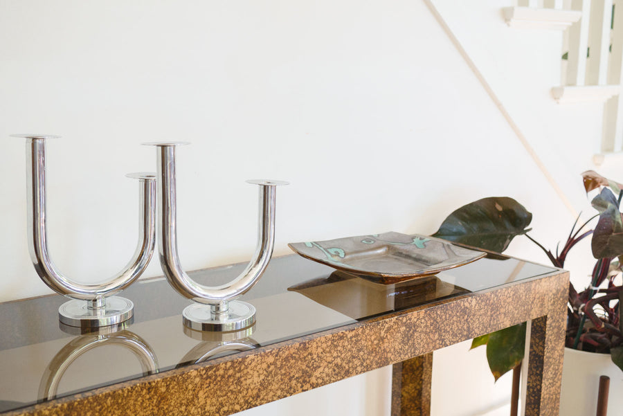 Chrome 'Taurex' Candelabra Set