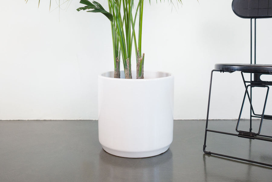 "15"" Pot / Planter - Gloss White Cylinder"
