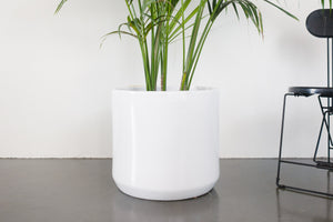 "18"" Pot / Planter - Gloss White Cylinder"