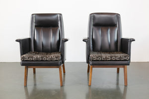 Pair Leather and Mud Cloth Chairs