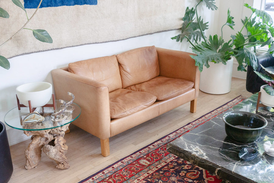 Danish Leather Loveseat