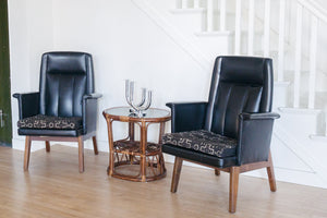 Leather and Mud Cloth Chairs