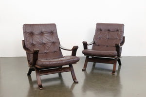 Pair MC Leather Sling Chairs