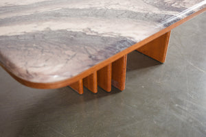 Teak and Faux Stone Coffee Table