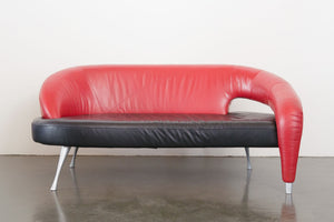 Postmodern Italian Leather Sofa