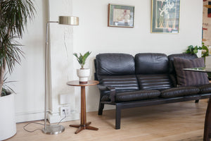 Minimalist Black Leather Sofa