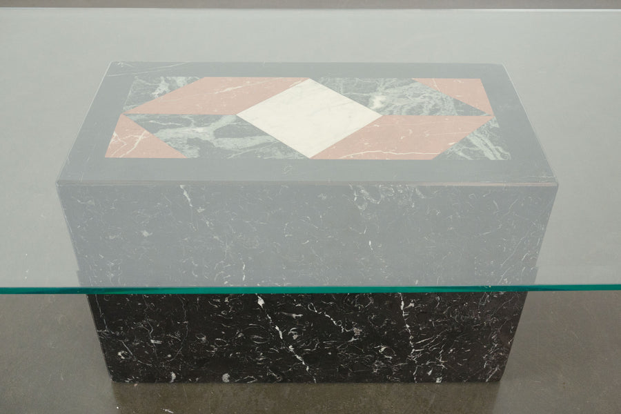 Marble Inlay Pedestal Coffee Table
