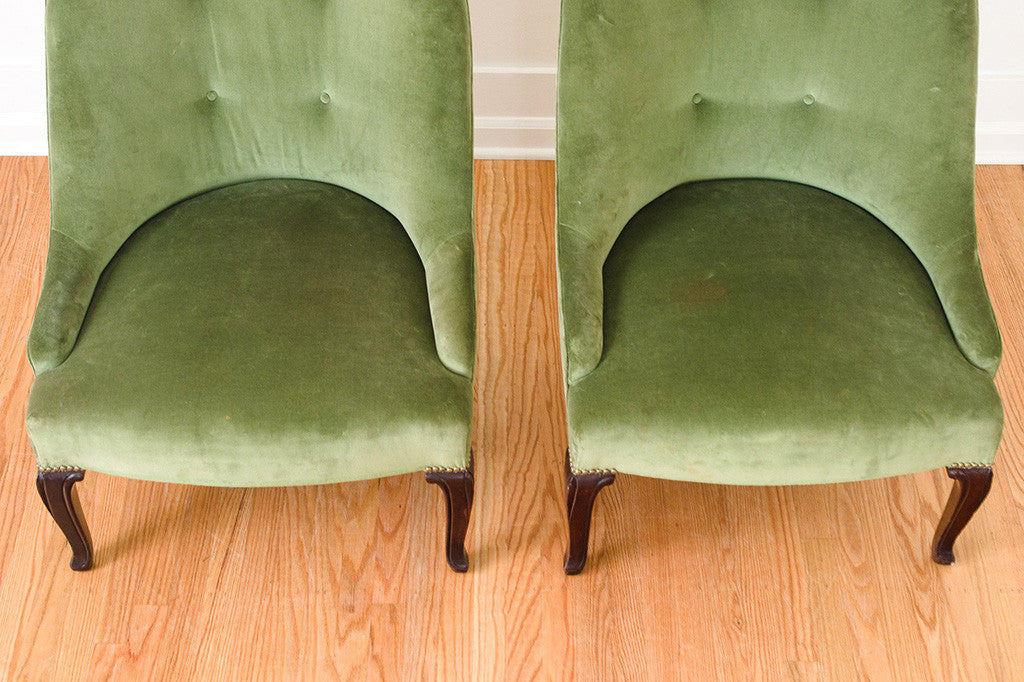Pair of Green Slipper Chairs
